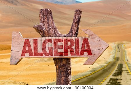 Algeria wooden sign with desert road background