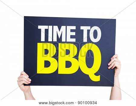 Time To BBQ card isolated on white
