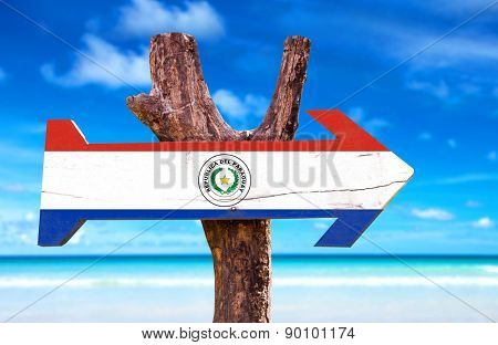 Paraguay Flag wooden sign with lake background