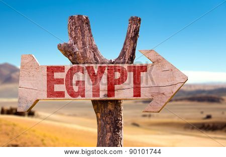 Egypt wooden sign with dry background