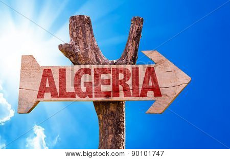 Algeria wooden sign with sky background