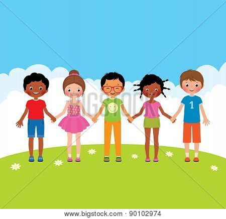 Group Of Happy Children Boys And Girls Holding Hands