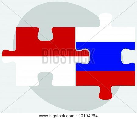 Indonesia And Russian Federation In Puzzle
