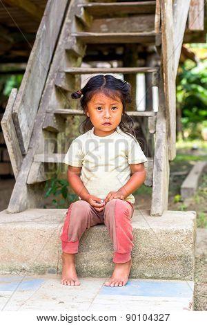Yasuni, Ecuador - 17 November 2012: Portrait Of Young Indigenous Girl, National Park Yasuni, South America In Yasuni On November 17, 2012