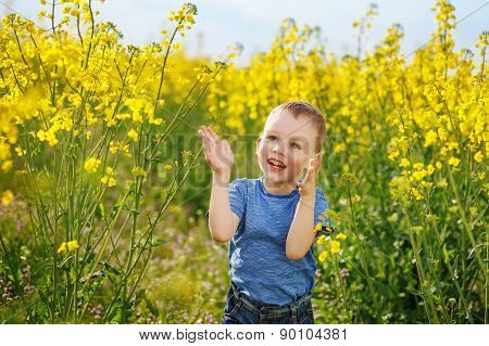 Little Boy Jumping And Clapping And Having Fun Among The Bright Yellow Flowers In The Meadow