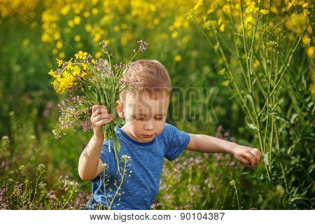 Cute Little Boy Running With A Bouquet Of Flowers On A Yellow Meadow