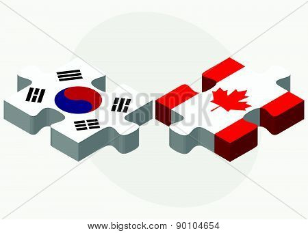 South Korea And Canada Flags In Puzzle