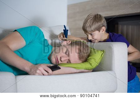 Sleeping Dad Doesn't Care About His Son