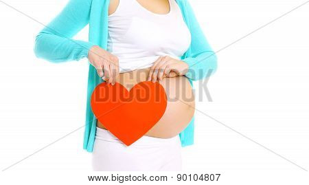 Happy Pregnant Woman And Big Red Heart In Hands On A White Background