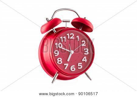 Red Alarm Clock, Isolated On White