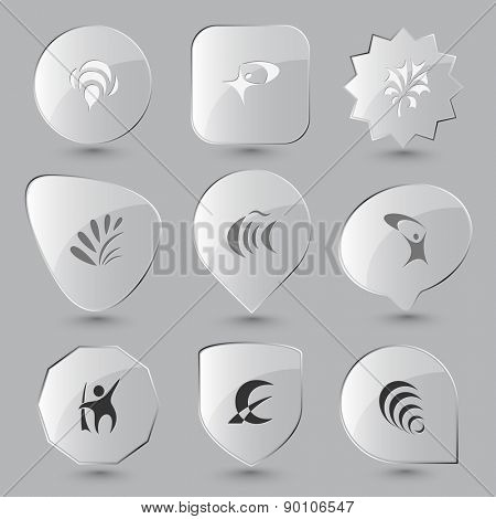 Abstract set. Raster glass buttons.