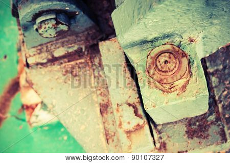 Old Rusted Industrial Details, Nuts And Bolt