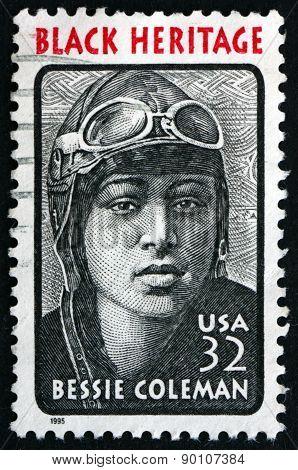 Postage Stamp Usa 1995 Bessie Coleman, Aviator