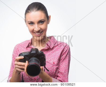 Photographer Posing With Her Camera