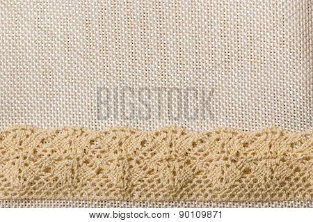 Lace Ribbon On Sack Cloth Background