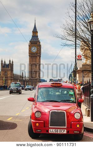 Famous Cab On A Street In London