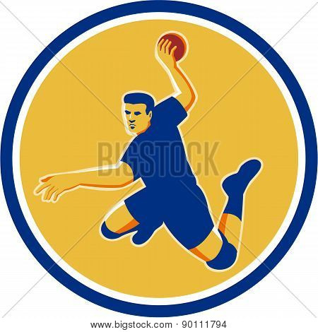 Handball Player Striking Circle Retro