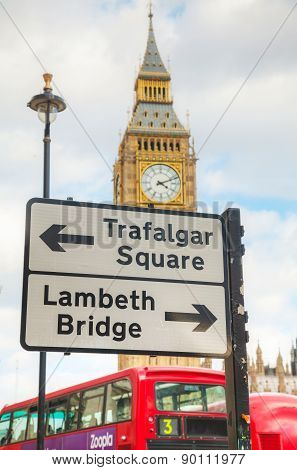 Street Sign At The Parliament Square In City Of Westminster