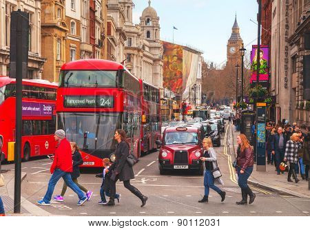 Iconic Red Double Decker Bus In London, Uk