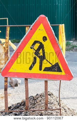 Construction Road Sign In A Street