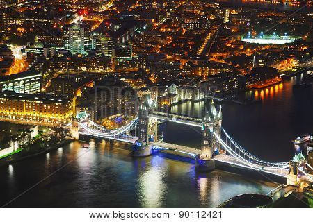 Aerial Overview Of London City With The Tower Bridge