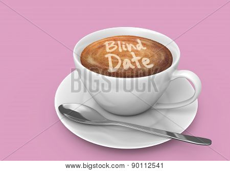 Latte art message in a coffee cup that says blind date