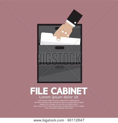 Hand Picking A Document From A File Cabinet.
