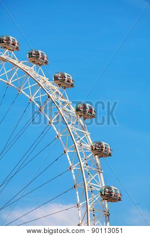 The London Eye Ferris Wheel Close Up In London, Uk
