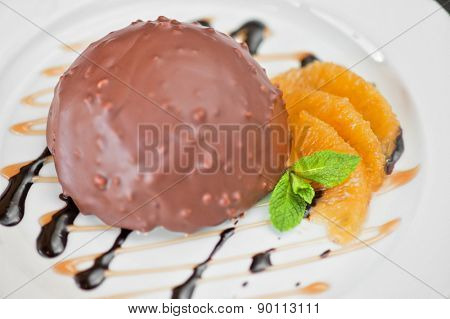 chocolate and orange croissant of mousse and almond cookies