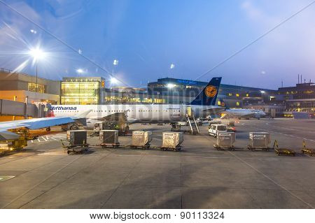 Lufthansa Flight At The Gate In Early Morning