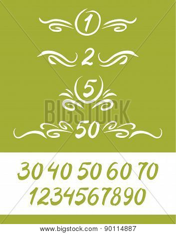 Set of numbers, written by a brush, with decor elements.