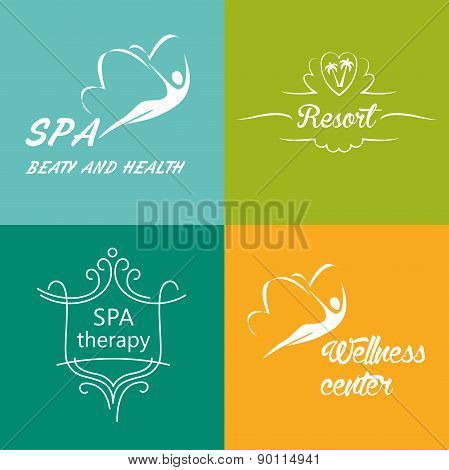 Set of vector logos for the wellness center, spa