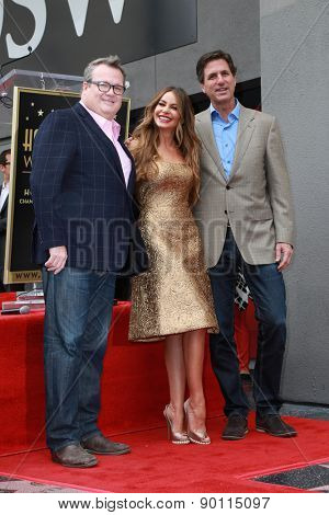 LOS ANGELES - MAY 7:  Eric Stonestreet, Sofia Vergara, Steven Levitan at the Sofia Vergara Hollywood Walk of Fame Ceremony at the Hollywood Blvd on May 7, 2015 in Los Angeles, CA