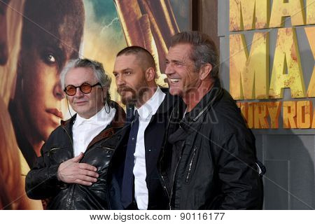 LOS ANGELES - MAY 7:  George Miller, Tom Hardy, Mel Gibson at the Mad Max: Fury Road Los Angeles Premiere at the TCL Chinese Theater IMAX on May 7, 2015 in Los Angeles, CA