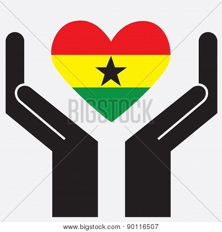 Hand showing Ghana flag in a heart shape.