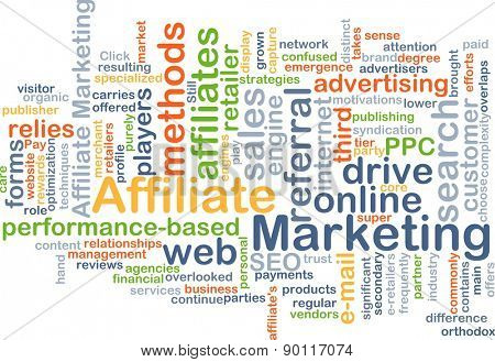 Background concept wordcloud illustration of affiliate marketing