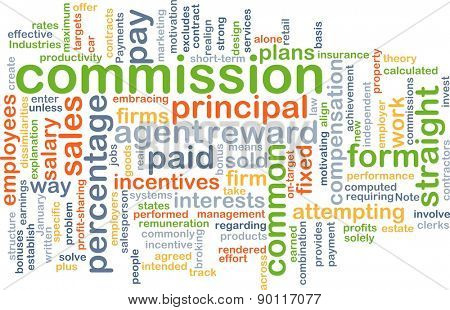 Background concept wordcloud illustration of commission