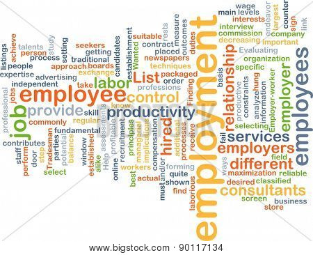 Background concept wordcloud illustration of employment