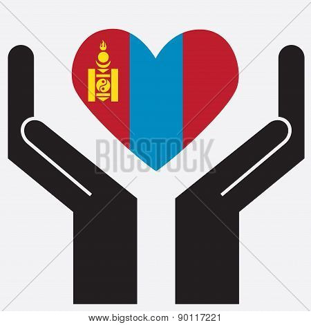 Hand showing Mongolia flag in a heart shape.