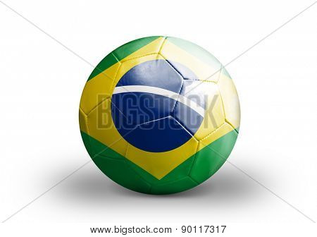 Brazilian soccer ball on white background