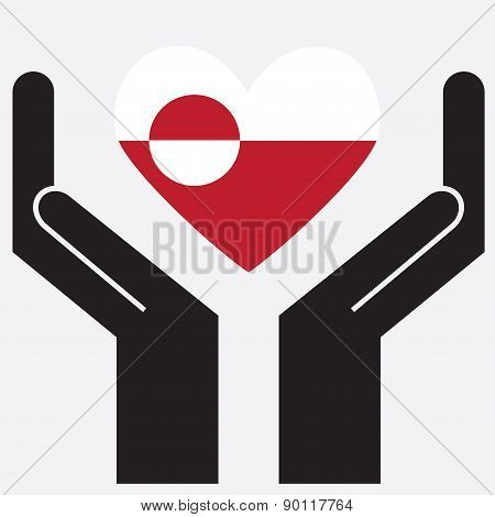 Hand showing Greenland flag in a heart shape.