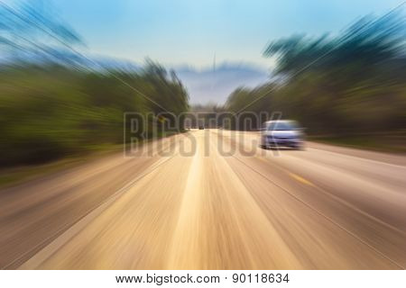 Motion Blur Of A Rural Road