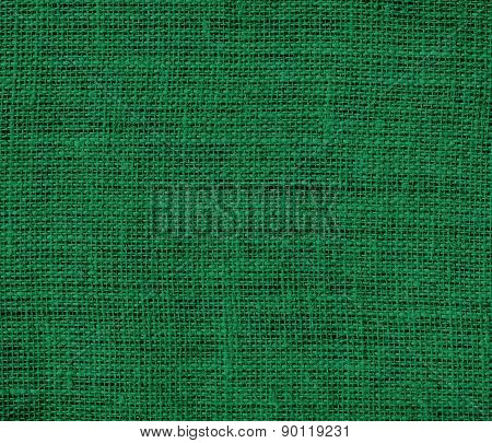 Cadmium green color burlap texture background