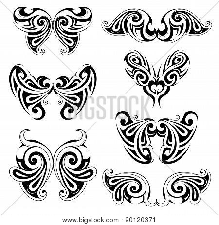 Set of wing shapes