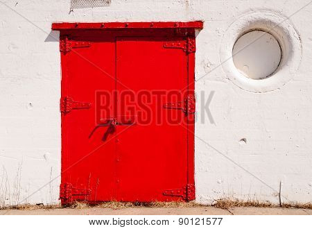 Big Red Metal Door Great Lakes Lighthouse