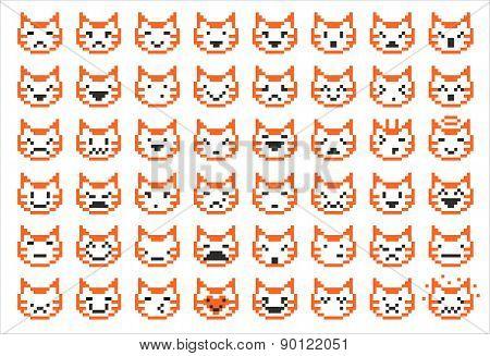 Pixel Cat Faces
