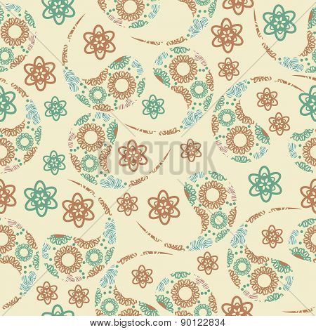 Paisley Seamless Pattern In Gentle Colors And Seamless Pattern In Swatch Menu, Vector Image