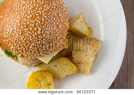 Cheeseburger And Potato Vedges