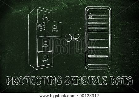 Old School Archive Or Computer Servers For Confidential Information