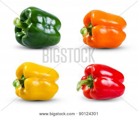 Set Collection Of Fresh Vegetable, Green, Yellow, Red And Orange Peppers Isolated On A White Backgro